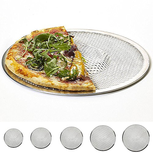 "Non-Stick Pizza Crisper Tray,6""-14'' Aluminium Flat Mesh Pizza Screen Oven Baking Tray Net Bakeware Cookware(12 inch)"