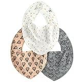 Pippi 3er Pack Baby Mädchen Halstuch mit Aufdruck, Farbe: Rosa, Weiß und Grau, One Size, 4452