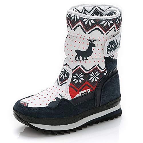 Yi Buy Winter Schneestiefel Mädchen Jungen Winterschuhe Rutschfeste Baumwollschuhe für Unisex - Erwachsene(Rentier Blaues 39 EU)