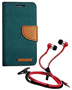 Aart Fancy Wallet Dairy Jeans Flip Case Cover for LenovoA-6000 (Green) + Zipper Earphones/Hands free With Mic *Stylish Design* for all Mobiles- computers & laptops By Aart Store.