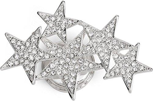 styleBREAKER Magnet Schmuck Anhänger mit versetzt angeordneten Strass besetzten Sternen für Schals, Tücher oder Ponchos, Brosche, Damen 05050061, Farbe:Silber