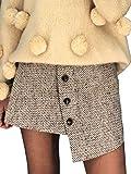 Melegant Damen Herbst Rock Elegant Kurz Asymmetrisch High Waist Knöpfe Sommer Skirt Streetwear Winter Beige