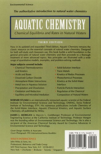Aquatic Chemistry: Chemical Equilibria and Rates in Natural Waters (Environmental Science and Technology: A Wiley–Interscience Series of Texts and Monographs)
