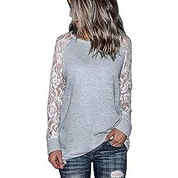 1b5488ac67 Camisetas y tops Blusas y camisas Mujeres Camisetas Manga Larga Blusas de Encaje  Flores Lace Crochet