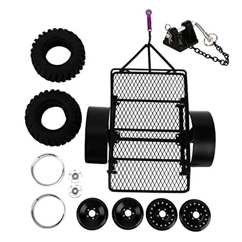 Trailer Kit Cargo Carrier with Tow Hook for 1/10 RC Truck Cars ()