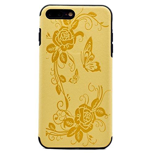 """inShang Hülle für iPhone 7 Plus 5.5"""" ,Ultra Schlank und leicht TPU Bequem Schutzhülle Rückcover (Back Case) design für Handy iPhone7 Plus 5.5 inch, Yellow butterfly flower"""
