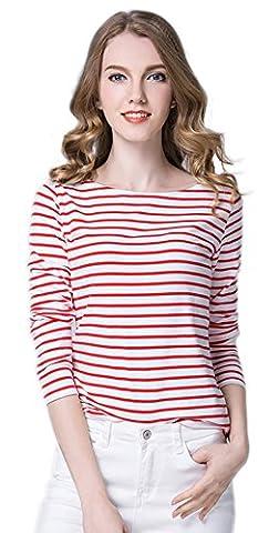 La Vogue Veste Manche Longue Top T-Shirt Pull Femme Rayure Slim Casual Rouge Size2