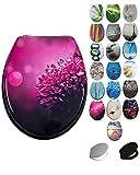 Grafner MDF WC Sitz viele schöne Motive zur Auswahl - stabile Qualität - einfache Monatge WC Deckel Klobrille (Pink Dahlia)