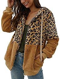 Jersey Mujer Abrigo Invierno Sudadera con Capucha Manga Larga Moda Leopardo con Solapa Sudadera Hoodie Blusa clásica Tops