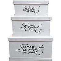 Preisvergleich für Inconnu Set 3Truhen Home Sweet Home, Holz, weiß, Largeur 30 cm, Profondeur 22 cm, Hauteur 72 cm