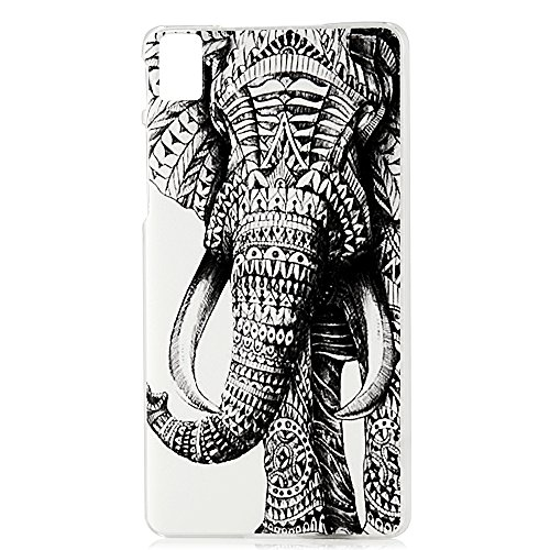 BQ E5 Fundas Movil - Lanveni Chic Carcasa rígida ultrafina para BQ Aquaris E5 HD(NO PARA BQ Aquaris E5 4G LTE) Transparente HardCase - Patrón el elefante