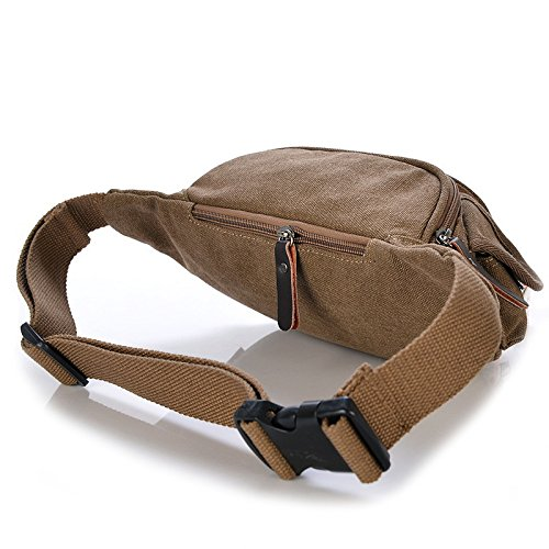 Herren casual Leinwand Brust Taschen outdoor-Sport-Pakete coffee color