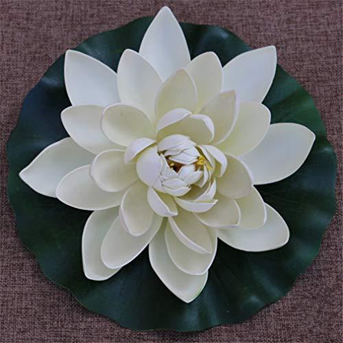 28cm Schaum Seerose Blume Dekor künstliche schwimmende Teich Pflanzen gefälschte Lotus Multicolor (Weiß)