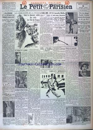 PETIT PARISIEN DERNIERE EDITION DE 5 HEURES (LE) [No 20616] du 09/08/1933