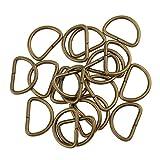 Perfeclan D-Ringe Halbringe, 100 Stück für Gurt/Band - Bronze, 15x10x2mm