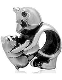 Argent véritable en or 925 Panda Charms Mère Bébé Famille Perle pour Européen Bracelet Charms