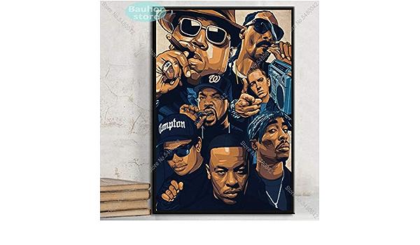 Refosian Poster Drucke 2Pac Jay-Z N.W.A Legende Stern Collage Leinwand /Ölgem/älde Kunst Wandbilder Wohnzimmer Wohnkultur Rahmenlos 40cmx60cm PA180