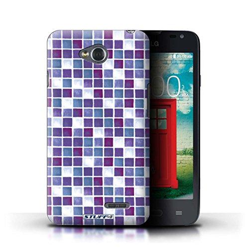 Kobalt® Imprimé Etui / Coque pour LG L65/D280 / Violet/Vert conception / Série Carreau Bain Violet/Blanc