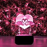 HJW-CD 3D Flamingo Vogel Nachtlicht Lampe 7 Farbwechsel LED Touch USB Tisch Geschenk Kinder Spielzeug Dekor Dekorationen Weihnachten Geburtstagsgeschenk