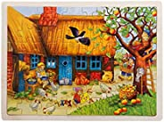 60 pieces Jigsaw Puzzles for Girls Boys Toddlers Teens Adults Kids Wood Jigsaw Puzzle Apple Tree Animal Farm O