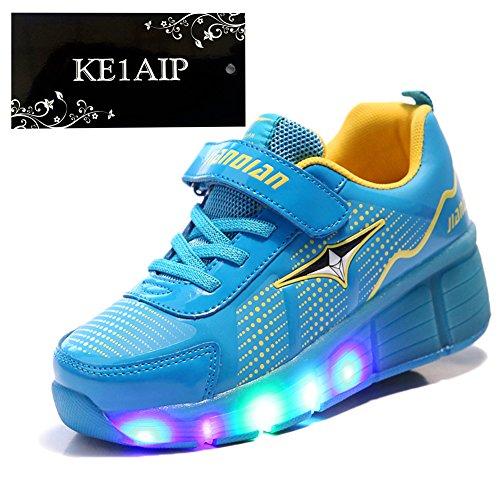 KE-Los-nios-unisex-de-luz-LED-zapatillas-de-ruedas-auto-prrafo-Roller-Skates-Calzado-Calzado-deportivo