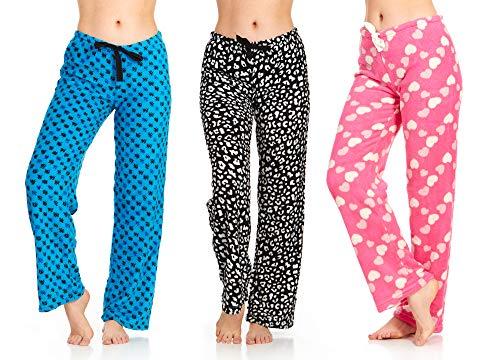 DARESAY Damen Pyjamahose aus superweichem Plüsch Fleece Bedruckt Loungehose - Mehrfarbig - Large/36-38 US - Zebra-print-kordelzug