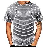 serliy3D Druck Tshirt Herren Gothic Retro 3D Ritter Ganzkörper Rüstung Bedruckt Kurzarm Cosplay Kostüm Kurzarm T-Shirt Mode Round Hals Hemden Tops