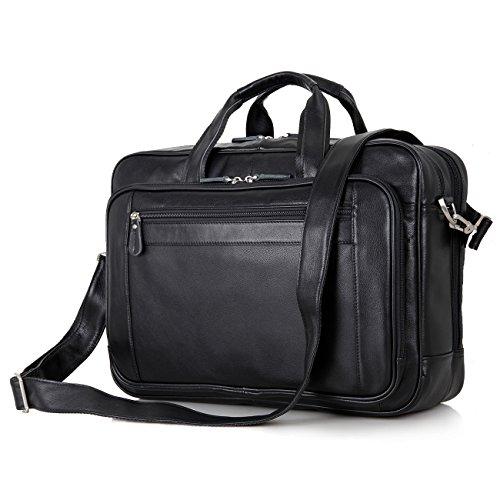 UBaymax Aktentasche Businesstasche Leder Herren, Vintage Ledertasche für bis 17 Zoll Laptop, 15,6 Zoll Laptopfach, Klassische Echt-Leder Umhängetasche Schultertasche Arbeitstasche, Schwarz