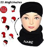 """Multifunktionstuch - Fleece - """" schwarz """" - UNIVERSAL Größe - incl. Name - Schlauchschal"""