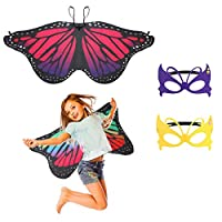Supmaker 2 Pcs Kids Butterfly Wings, Fairy Butterfly Cape Wings Costume Butterfly Shawl and Mask Pixie Poncho Costume for Boys Girls Dress Up Princess Pretend Play Party Favors