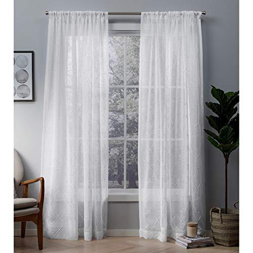 Exclusive Home Cali Stickerei, Fenster Vorhang-Paar mit Angel-Tasche, Polyester, Polyester, Winter-Weiß, 96 x 50 x 0.2 cm (Blackout Vorhänge Weißes Paar)