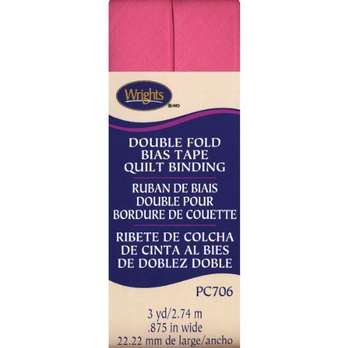 Wrights Double Fold Quilt Binding, 7/8 by 3-Yard, Candy Pink by Wright Products -