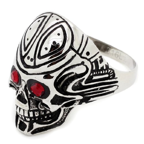 ith Pattern on Forehead Design Edelstahl Ring with Synthetic Rubies - Größe: 12 (Lifetime Warranty) (Design Pattern Ruby)