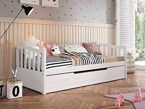 MOBLED Lit gigogne en pin Massif Blanc pour lit de 90 x 190 cm.