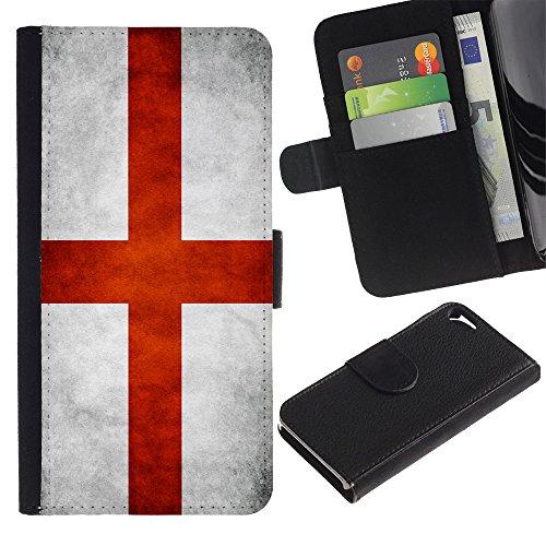 Graphic4You Vintage Uralt Flagge Von Schottland Schottisch Design Brieftasche Leder Hülle Case Schutzhülle für Apple iPhone SE / 5 / 5S English Flag of England