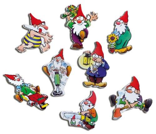 Kühlschrankmagnete Zwerge lustig Magnete für Magnettafel Kinder stark 8er Set Comic mit Motiv Gartenzwerg