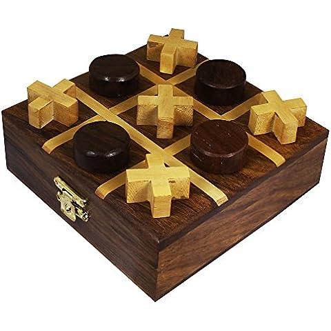 Fatti a mano in legno gioco tic tac toe giocattolo - tris giocattolo di legno di puzzle e impostare -3.8 x 11,4 x 11,4 cm - Deck Box Piazza