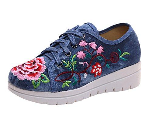 ICEGREY Damen Plateau Schuhe Handgemachter Gestickter Keil Spitze oben Wedge Sneaker Blau 36 (Keil-ballett-schuhe Für Frauen)