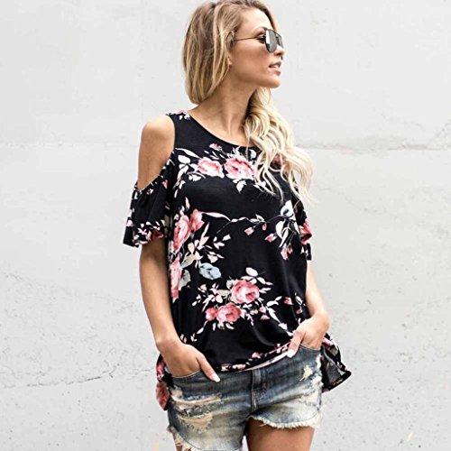 Vovotrade Blouse femme Hors épaule Fleur Imprimée T-shirt Tops Manches Courtes Noir