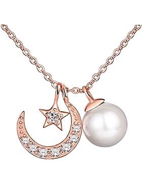 Yumilok Roségold 925 Sterling Silber Zirkonia Perle Stern Mond Anhänger Halskette Kette mit Anhänger für Damen...
