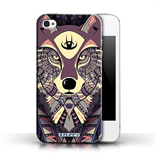 Hülle für Apple iPhone 4/4S / Wolf-Grün / Aztec Tier Muster Kollektion Wolf-Purpur