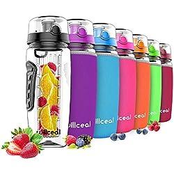 Willceal Bouteille d'eau avec infuseur à fruits 0,95 l Fabriquée en Tritan sans BPA, couvercle à rabat, anti-fuite Convient pour le sports et le camping