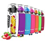 Willceal Fruit Infuser Water Bottle 32oz Durable, Large - BPA Free Tritan, Flip