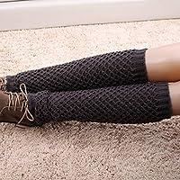 Socialism Mujeres Niñas Calentadores de la Pierna de Punto de Invierno Calcetines de Hemlock Botas de Punto Crochet Leggings Largos Mangas Cortas Calcetines - Gris Oscuro