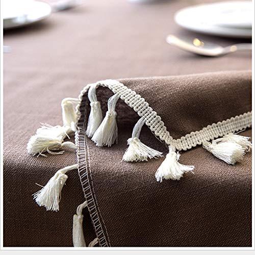Dendenxiaopu Tischdecke Nordic Plain Cotton Tassel Lace Geometrische Rechteckige Tabelle Kaffee Küche Esszimmer Waschbar Antifouling Staubtuch 100X140 cm B -