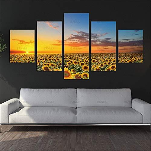 DZSLTC Poster Wall Immagine Moderna Pittura ad Olio Girasole Modulare Canvas Art Paesaggio Sole Stampa e per Soggiorno Frameless 5 Pezzi, 30 * 40 cm