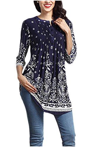 Minasan Sommer Frauen Blumen Printed 3/4 Arm T-Shirt V Neck mit Taste Rüsche Langes Bluse Tops L (V-neck Top Printed)