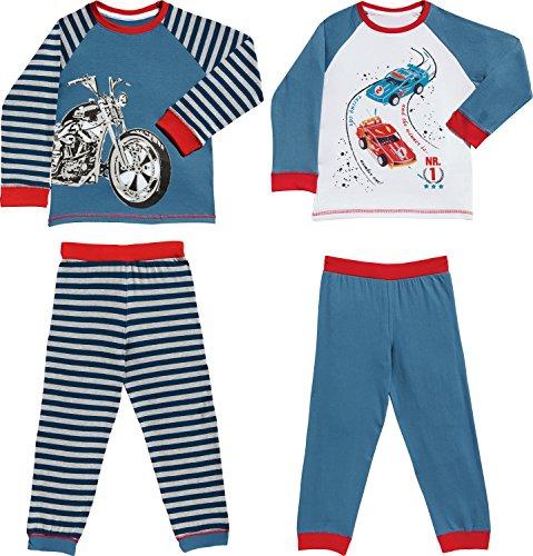 Kinderbutt Schlafanzug 2er-Pack mit Druckmotiv Motorrad Single-Jersey gestrickter Ringel blau/rot/weiß Größe 146 / 152 (Motorrad-jungen Schlafanzug)