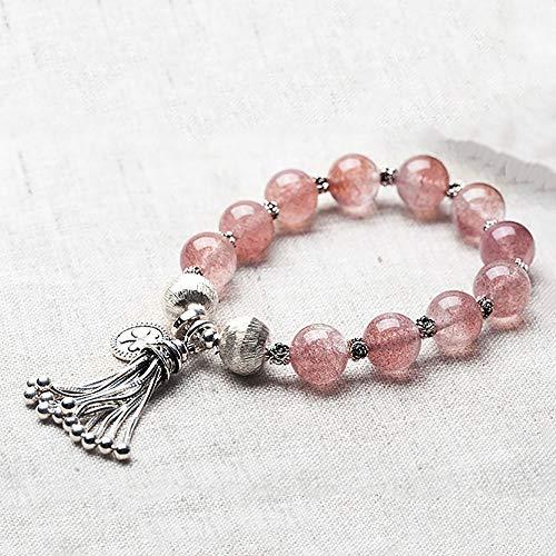 MIIAOPAI Erdbeer Kristall Armband Frauen Honig NatüRlichen Pulver Kristall Sterling Silber Transfer Perlen PfirsichblüTe Armband -