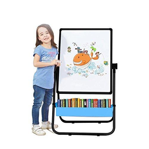 Arkmiido Kids Art Staffelei doppelseitiges Staffelei für Kinder Whiteboard & Tafel mit verstellbaren Ständer & Drehen 360 Grad & Bonus Magnetische Buchstaben und Zahlen (Schwarze Farbe)